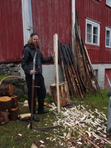 Dan, the farm's owner and my gracious host is crafting a scythe handle out of spruce, same way I crafted the axe handle. He's a bit more advanced than me, and a good teacher.