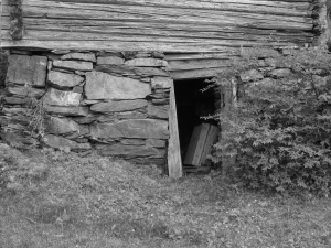 This door leads to the basement of the Carpenter's Cabin. It is intriguing to look at, like a gateway to another world.