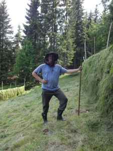 Obviously hard at work, posing for the camera shot, we just completed our fifth round of hay-making. No one ever holds the pitchfork tines up by the way, both impractical and dangerous though for the picture I had to break the rules.