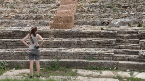 Tiff in front of the newly uncovered amphitheater