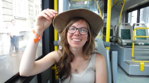 Lookin' like a proper cowgirl, Tiff and I on a bus to Briuni.