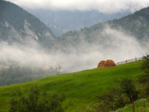 Morning Mist rolling in between the verdant Transylvanian hillside. Cold and dewy, the village is silent in the morning light.