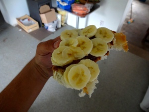 Bananas, nutella, peanut butter on potato bread - an amazing concoction that reminds me of treks down the Croatian coast with Tiff.